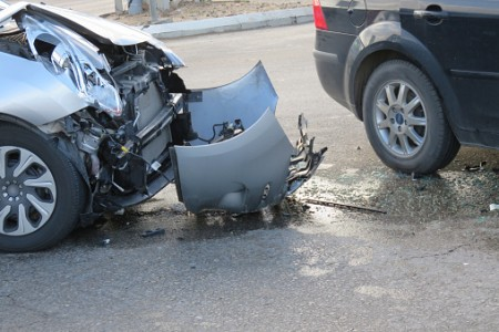 Severe front end car damage resulting from and accident