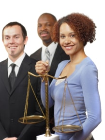 A team of legal experts with scales of justice