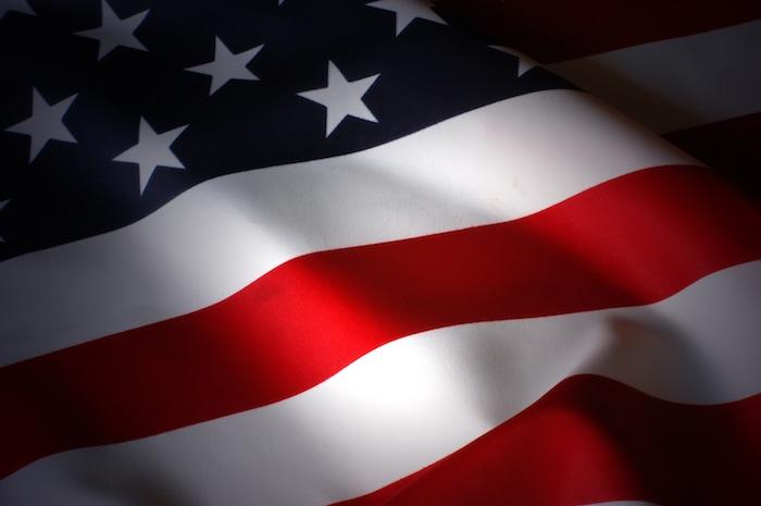 The American flag waving
