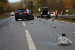 car wreck on paved highway