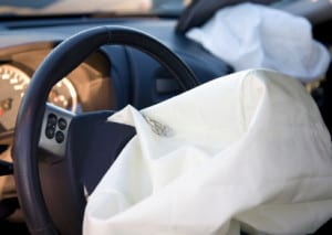 Airbags deployed from the Steering wheel and dashboard after an accident
