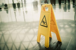 A smart business uses a wet floor caution sigh to help avoid premises liablity