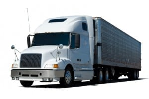a graphic rendering of a White Semi Truck on a white background