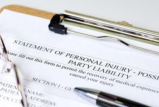 A statement of Personal Injury form ready to be filled out