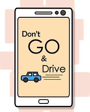A smart phone screen saver reminding players not to drive distracted