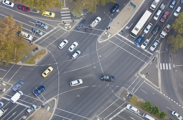 Top down view of a busy intersection in the city