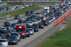 Traffic jam on interstate highway