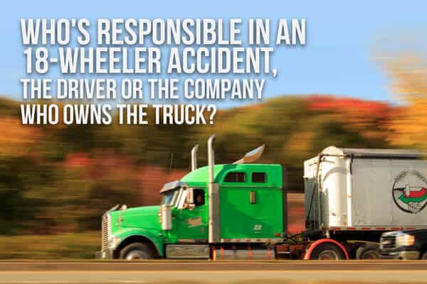 "An 18-wheeler (semi) with a green cab is speeding down a road past a hill and the words ""Who"