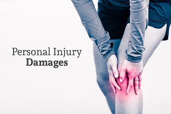 "A woman clasping her knee (which is highlighted in red) as though in pain beside the words ""Personal Injury Damages"""